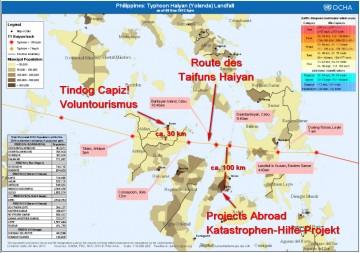 Karte der Freiwilligenprojekte dieses Artikels auf den Philippinen