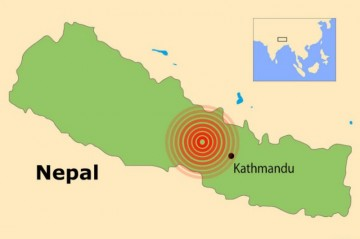 Karte Epizentrum Erdbeben Nepal